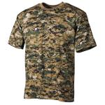 US T-Shirt, halbarm, digital- woodland, 170 g/m²