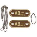 """Blutgruppenmarke, mit Kette, desert, """"AB NEG"""", 3 D"""