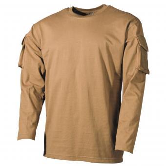 US Shirt, langarm, coyote, mit Ärmeltaschen S