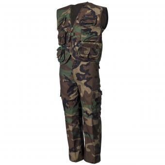 Kinder-Anzug, woodland, Weste u. Hose,mit abnehmbaren Beinen