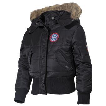 US Kinder-Polarjacke, N2B, schwarz, Kapuze mit Fellkragen
