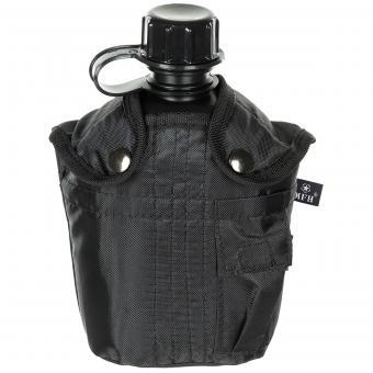 US Plastikfeldflasche, 1 l, mit Hülle, schwarz, BPA-frei