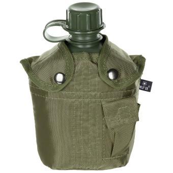 US Plastikfeldflasche, 1 l, mit Hülle, oliv, BPA-frei