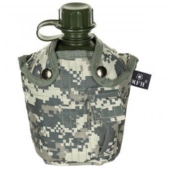 US Plastikfeldflasche, 1 l, Hülle, AT-digital, BPA-frei
