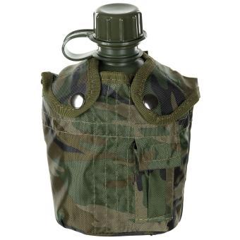 US Plastikfeldflasche, 1 l, mit Hülle, woodland, BPA-frei
