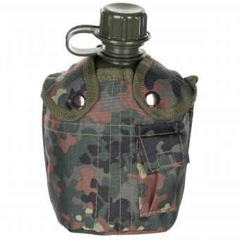 US Plastikfeldflasche, 1 l, mit Hülle, flecktarn, BPA-frei