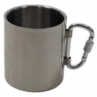 Tasse, Edelstahl, Karabiner, doppelwandig, 300 ml