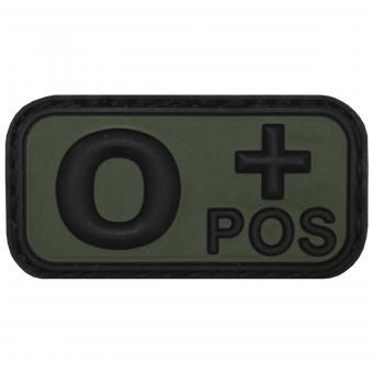 """Klettabzeichen, schwarz/oliv, Blutgruppe """"O POS"""", 3D"""