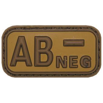 """Klettabzeichen, braun/khaki, Blutgruppe """"AB NEG"""", 3D"""