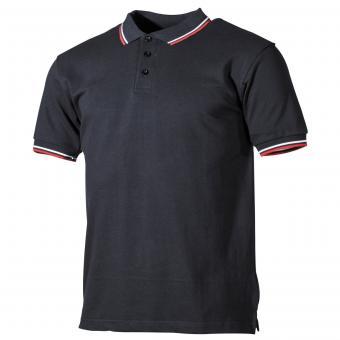 Poloshirt, schwarz, rot-weiße Streifen, mit Knopfleiste