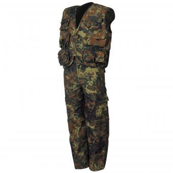 Kinder-Anzug, Weste und Hose,  flecktarn,Hosenbeine abnehmbar