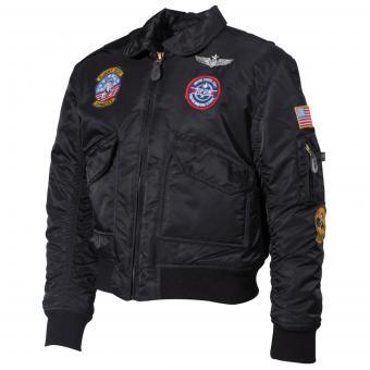 US Kinder-Pilotenjacke, CWU, schwarz, mit Fliegerabzeichen