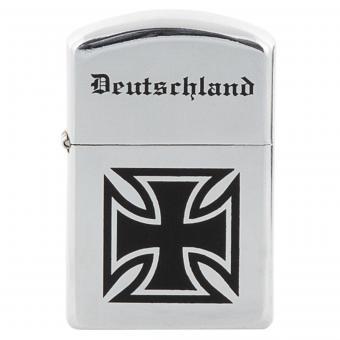 """Benzin-Sturmfeuerzeug, chrom poliert, """"Deutschland"""", unbef."""