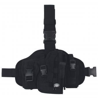 """Pistolenbeinholster, """"MOLLE"""", rechts, schwarz, mit Taschen"""
