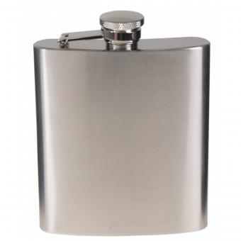 Flachmann, Edelstahl, chrom matt, 8 OZ, 225 ml