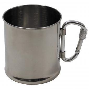Tasse, Edelstahl, Karabiner, einwandig, ca. 220 ml