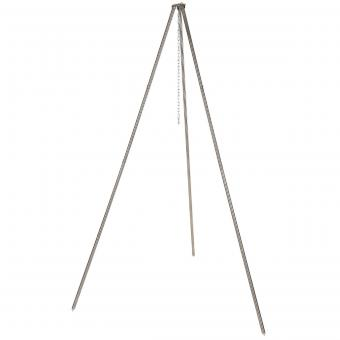 Dreibein, ca. 1,9 m, Edelstahl, mit Kette und Haken