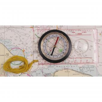 Karten-Kompass, transparent,  Kunststoffgehäuse