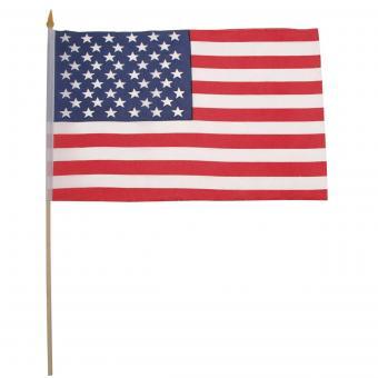 Fahne, USA, Polyester, Holzstiel, 30 x 45 cm