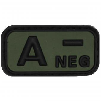 """Klettabzeichen, schwarz-oliv, Blutgruppe """"A NEG"""", 3D"""