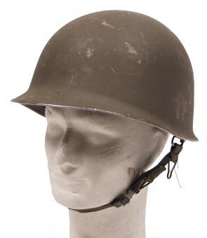 Österr. BH Stahlhelm, Modell 75, mit Kunststoff-Innenhelm (Lederbesatz), gebr.