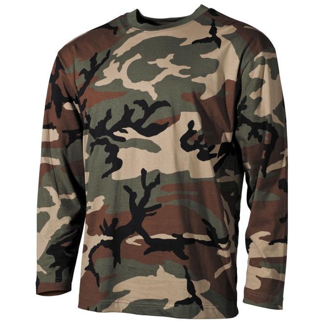 US Tarn-Shirt, langarm, woodland, 170 g/m²