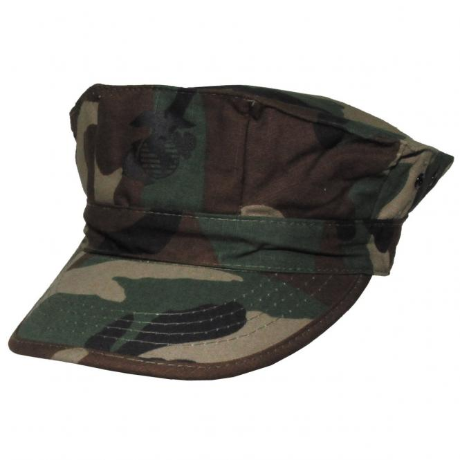 "US Cap, ""USMC"", Rip Stop, woodland,mit Marine-Corp-Druck"