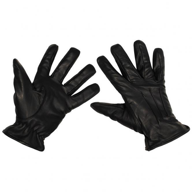 Lederhandschuhe, schwarz, mit KEVLAR-Einlage, schnitthemmend