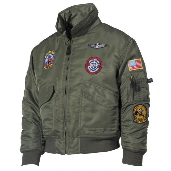 US Kinder-Pilotenjacke, CWU, oliv, mit Fliegerabzeichen