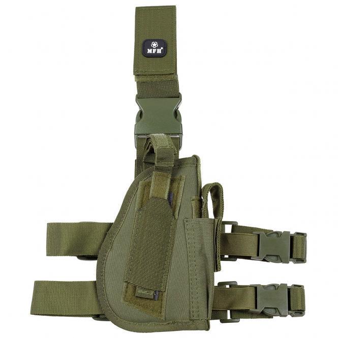 Pistolenbeinholster, oliv, Bein- und Gürtelbef., rechts