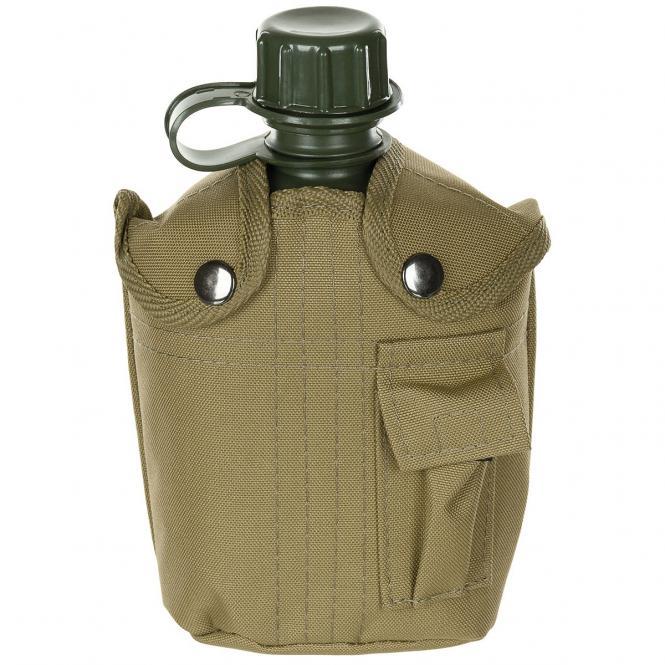 US Plastikfeldflasche, 1 l, mit Hülle, coyote, BPA-frei