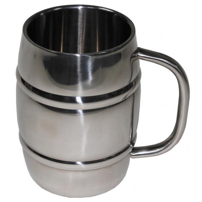 """Krug, """"Fass"""", Edelstahl, 1 Liter, doppelwandig"""