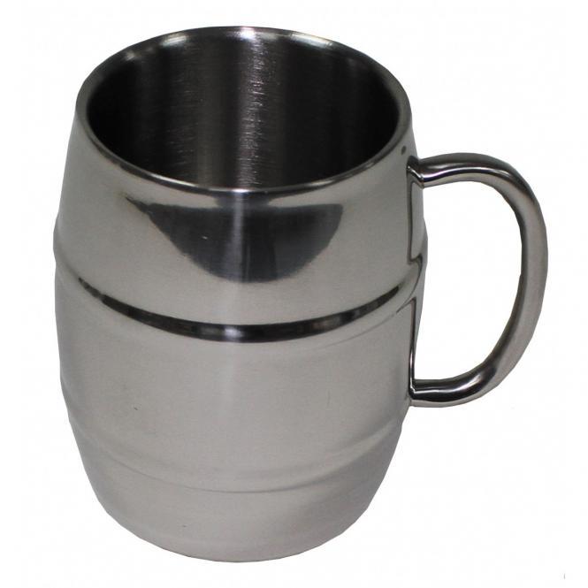 """Krug, """"Fass"""", Edelstahl, 450 ml, doppelwandig"""