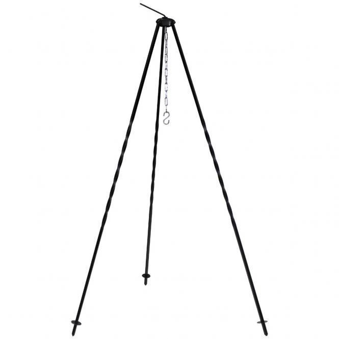 Ungar. Dreibein, Höhe 1,2 m, Eisen, mit Kette und Haken