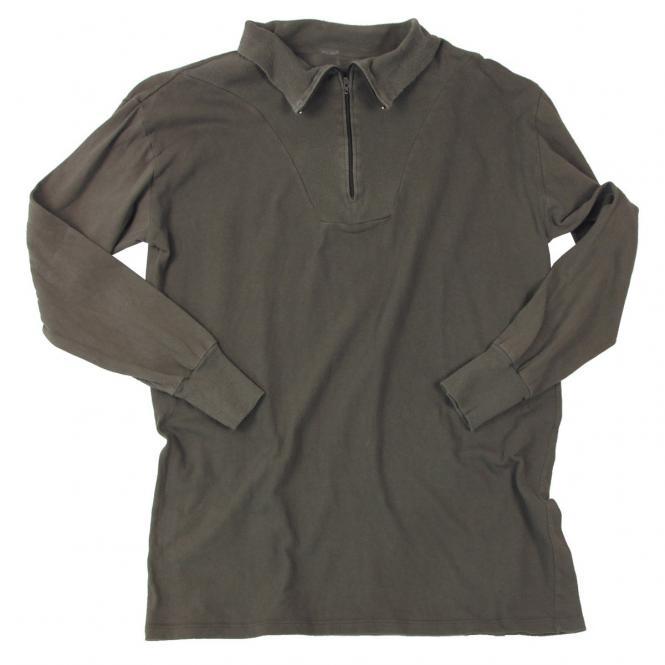 BW Rollkragenhemd, oliv, gebr., mit Reißverschluss