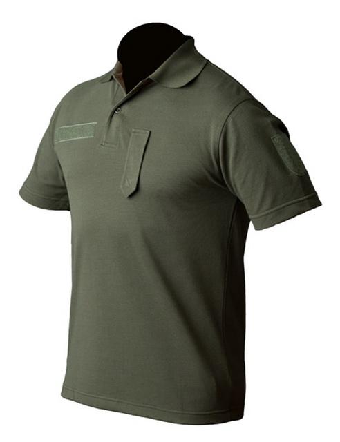 Poloshirt kurzarm (Sport) oliv, mit Klettband und Dienstgradschlaufe, Gr. L L